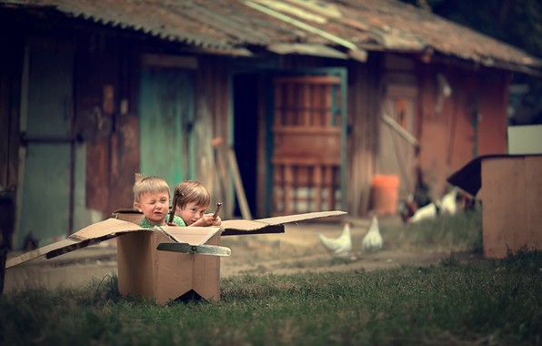 Picture nature, children, box, the game, home, village, yard, the plane, boys, Marianne Smolin