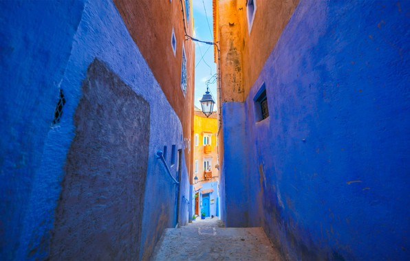 Picture home, street, Morocco, Chefchaouene