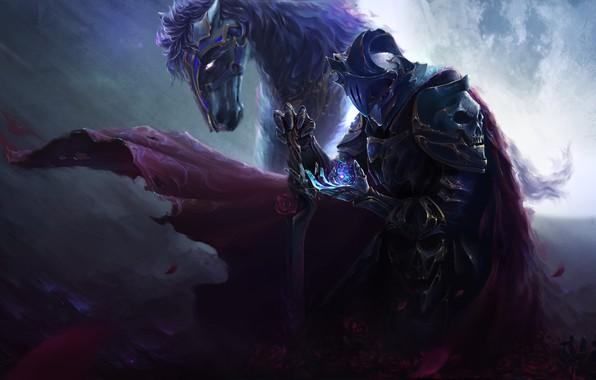 Picture animal, horse, magic, skull, sword, armor, fantasy, art, rider