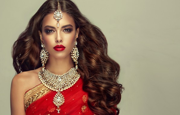 Picture look, decoration, background, portrait, earrings, necklace, makeup, hairstyle, brown hair, beauty, in red, curls