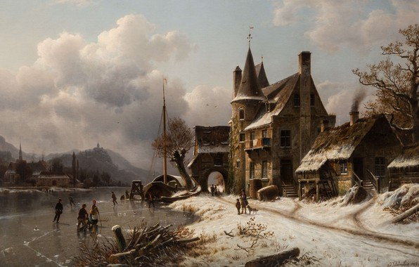 Picture 1870, German painter, German painter, oil on canvas, Winter Scene with Skaters on a Frozen …