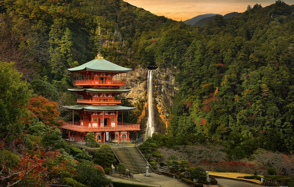 Picture landscape, castle, waterfall, Japan