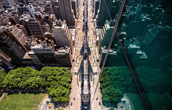 Picture the city, reflection, street, USA, the view from the top, New York