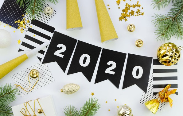 Picture decoration, balls, Christmas, New year, Christmas, New Year, 2020