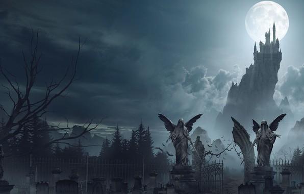 Picture the moon, cemetery, Dracula's castle, Dracula Castle, Ian Llanas