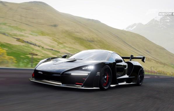 Picture mountains, supercar, Forza Horizon 4, McLaren Senna