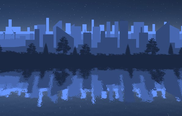 Picture night, the city, reflection, river, minimalism, night city