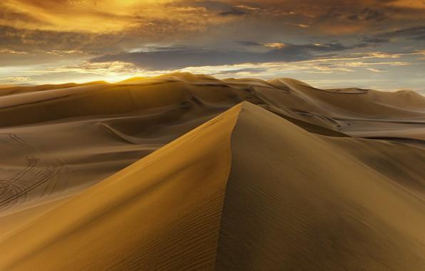 Photo wallpaper desert, sunset, sand