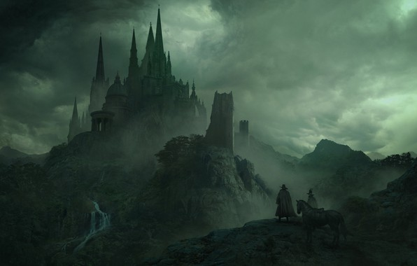 Picture clouds, clouds, people, castle, figure, art, fortress, riders, Palace, spires, the pilgrims, Solomon Kane, Guillem …