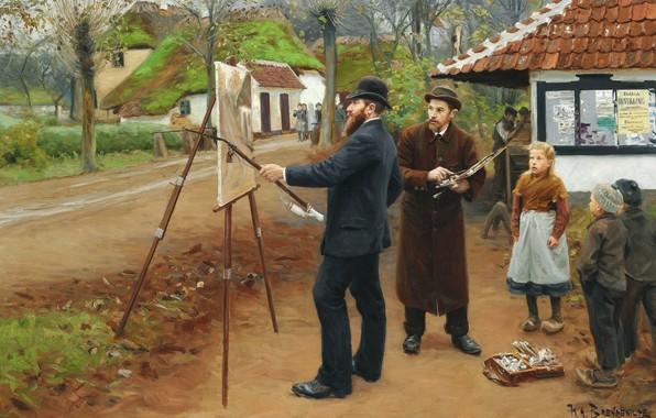 Picture 1893, Danish painter, Danish realist painter, Hans Andersen Brendekilde, Hans Andersen Brendekilde, The artist Lauritz …