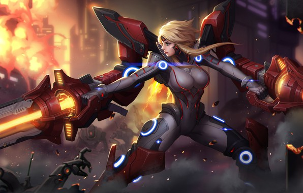 Picture Girl, Fantasy, Gun, Art, Style, Blonde, Illustration, Weapon, Minimalism, Cyborg, Armor, Character, Exoskeleton, Yang A