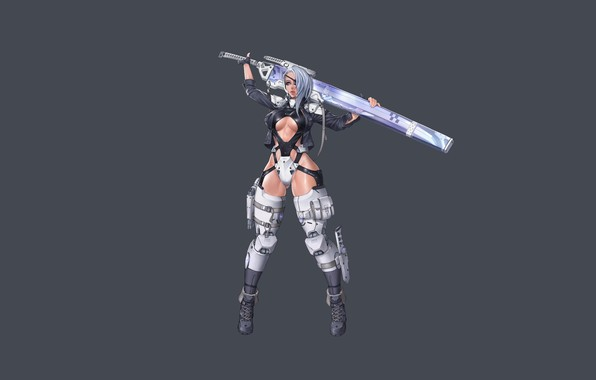 Picture Girl, Gun, Sexy, Art, Minimalism, Characters, Knife, Ren Wei Pan, KIBA, Katana combat armor 11