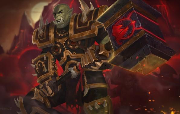 Picture hammer, armor, Warcraft, Warcraft, armor, Orc, hammer, the leader, orc, Horde, warchief, Horde, Orgrim Doomhammer, …