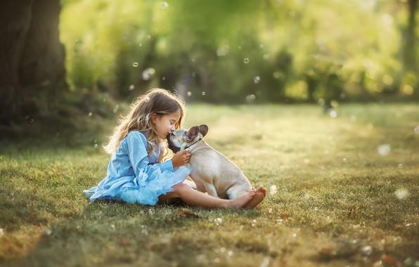 Picture summer, nature, kiss, dog, dress, girl, lawn, child, dog, bokeh, Anastasia Barmina