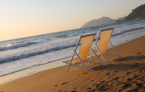 Picture sea, beach, shore, morning