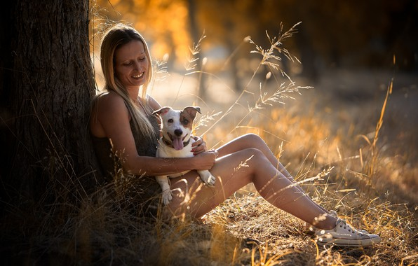 Picture girl, nature, dog
