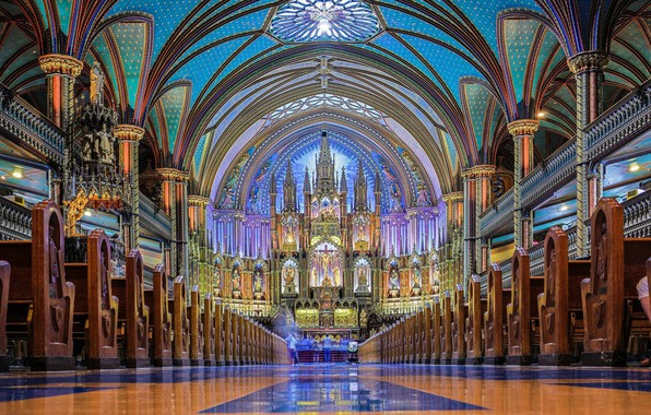 Picture interior, Cathedral, canada, montreal, basilica