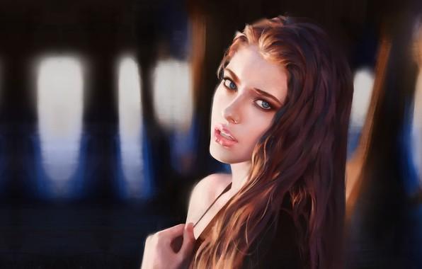 Picture girl, portrait, art, Study, Tim Liu