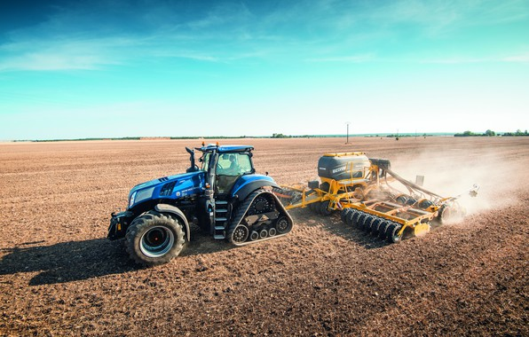 Picture field, the sky, blue, dust, tractor, cabin, caterpillar, works, wheel, sowing, agricultural machinery, seeder, New …