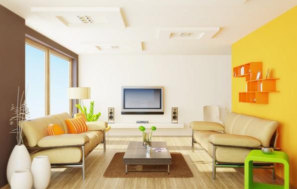Picture flowers, design, interior, vase, table, sofas, living room, plasma, modenr