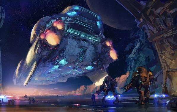 Picture the sky, stars, fiction, ship, robots, art, sci-fi