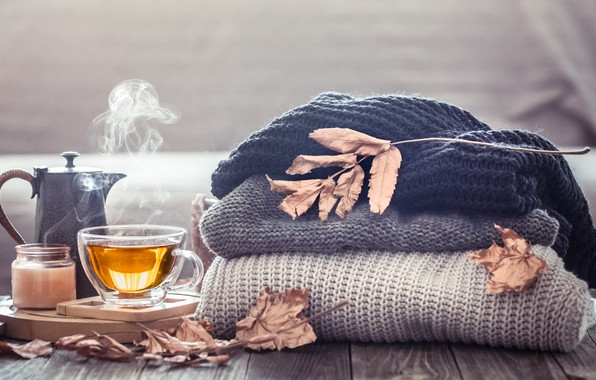 Picture autumn, leaves, wool, autumn, leaves, sweater, Cup of tea, tea cup
