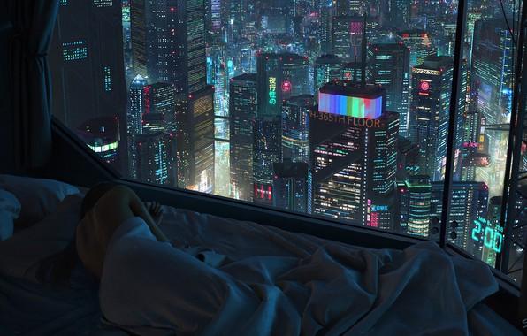Picture Girl, Night, The city, Window, Bed, City, Sleep, night, Illustration, futuristic, Cyberpunk, scifi, Tony Skeor, …