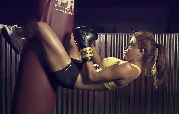 Picture sport, girl, gym, sack, Boxing, sportswear, boxing gloves, short shorts, sports bra