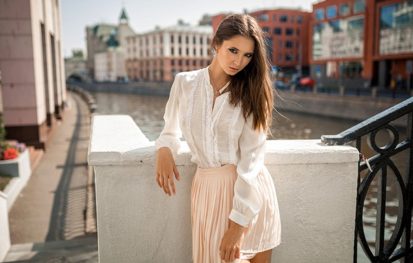 Picture look, the city, pose, model, skirt, portrait, home, makeup, hairstyle, channel, blouse, brown hair, bokeh, …