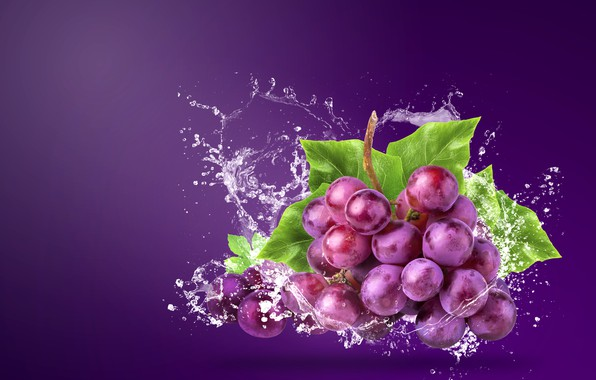 Picture water, squirt, background, grapes, bunch