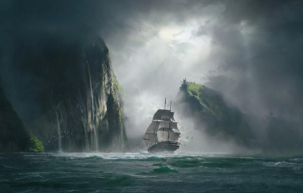 Picture sea, clouds, fog, rocks, ship, art, clearance