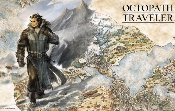 Picture sword, fantasy, game, soldier, map, digital art, artwork, warrior, fantasy art, Octopath Traveler, Olberic Eisenberg