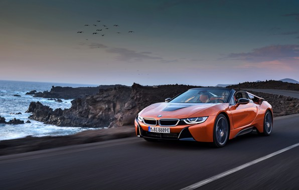 Picture rocks, coast, BMW, Roadster, 2018, i8, dark orange, i8 Roadster