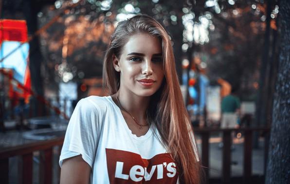 Picture look, pose, smile, hair, Girl, t-shirt, brand, Sasha Rusko, Dasha Kaisarova Street