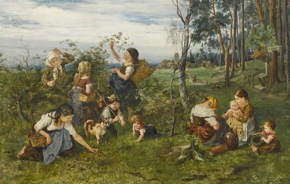 Picture 1876, German painter, German painter, oil on canvas, Julius Anton Adam, Julius Anton Adam, Children …