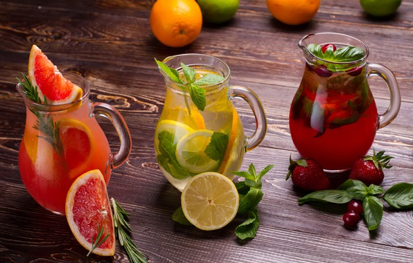 Picture greens, leaves, cherry, berries, lemon, strawberry, fruit, drinks, cocktails, bokeh, pitchers, grapefruit