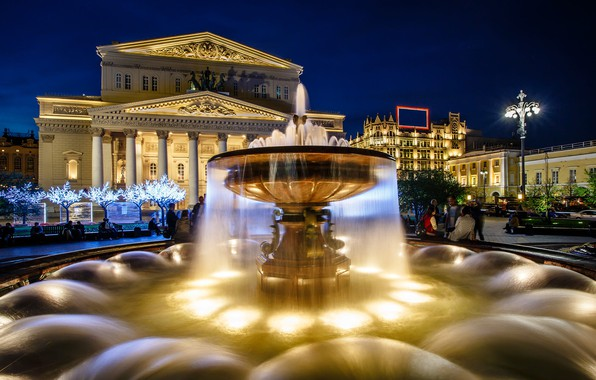 Picture the city, the evening, lighting, backlight, area, Moscow, fountain, The Bolshoi theatre
