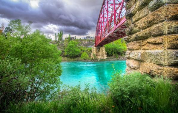 Picture bridge, river, HDR, home, New Zealand, bridge, Emerald