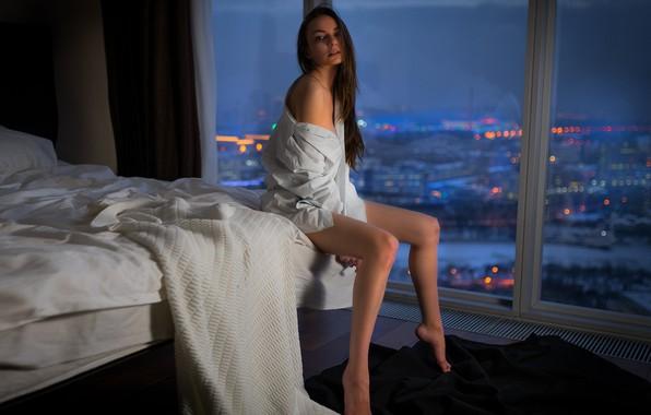 Picture girl, pose, bed, window, blouse, Margo Amp, Vladimir Nikolaev