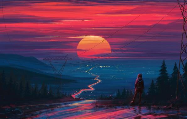 Picture sunset, figure, art, art, Aenami, by Aenami, Alena Aenam The, by Alena Aenami, Aenami Art, …