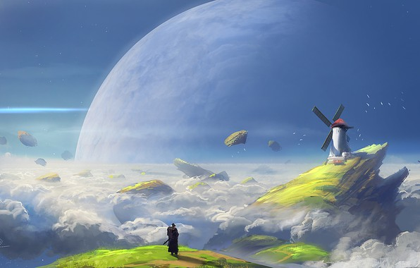 Picture Clouds, Figure, Mill, Planet, Art, Art, Fiction, Illustration, Denis Loebner, by Denis Loebner, Asteroid belt, ...