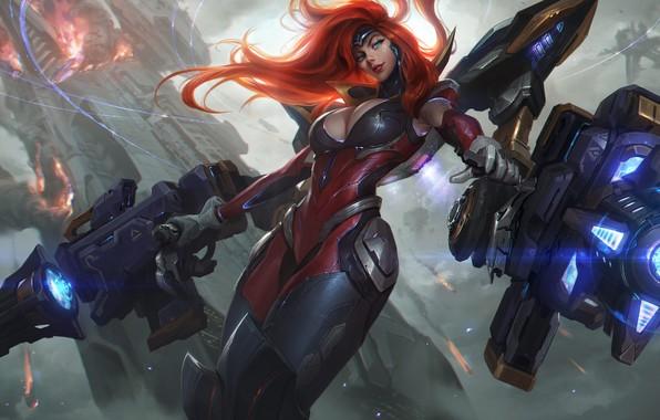 Picture Chest, The exoskeleton, Gun, Art, Red, Beauty, Splash, League of Legends, Gun, LoL, Artwork, League …