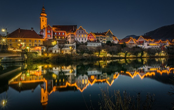 Picture reflection, river, building, home, Austria, night city, illumination, Austria, Styria, Styria, Frohnleiten, Mistelbach, The Moore …