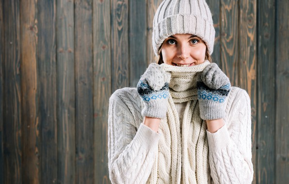Picture winter, look, face, pose, smile, background, model, hat, portrait, makeup, scarf, brown hair, is, in …