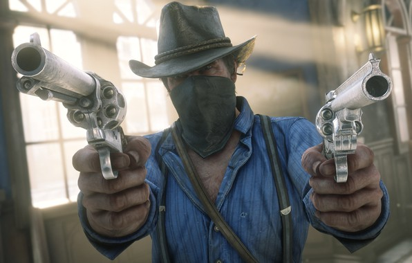 Picture hat, weapons, Rockstar, Bandit, Red Dead Redemption 2, Arthur Morgan, robbery
