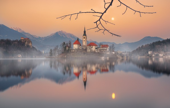 Picture mountains, lake, reflection, island, branch, Slovenia, Lake Bled, Slovenia, Lake bled, Bled, Assumption of Mary …