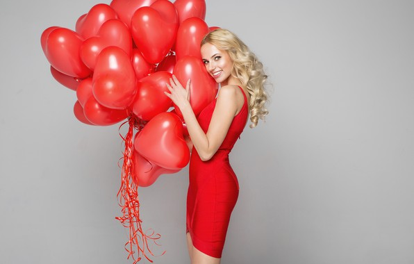 Picture look, girl, balls, smile, heart, figure, dress, hairstyle, beautiful, Valentines Day