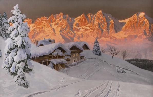 Picture Alois Arnegger, Austrian painter, Austrian painter, oil on canvas, Alois Arnegger, Winter evening mood in …