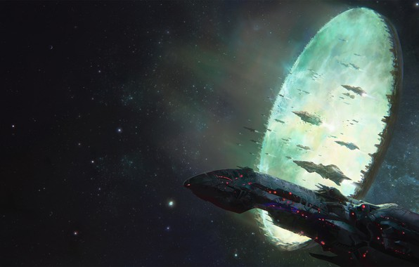 Picture space, portal, fantasy, science fiction, stargate, stars, cosmos, sci-fi, galaxy, spaceships, artwork, fantasy art, futuristic, …