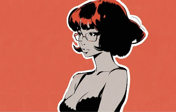 Picture haircut, glasses, neckline, sponge, shoulders, red background, bangs, portrait of a girl, Ilya Kuvshinov